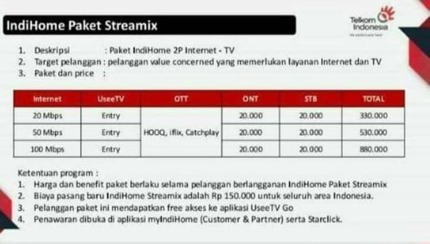 1. Paket Streanmix Indihome