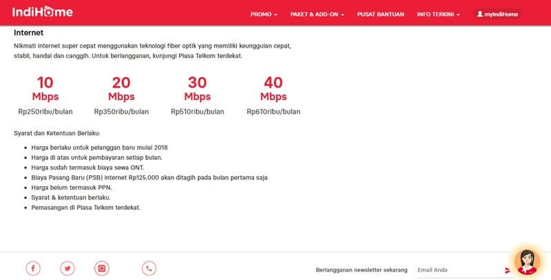 Cara Daftar Dan Harga Paket Internet Single Play 1p Indihome 2019