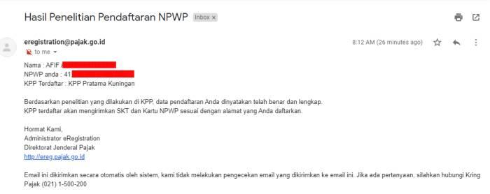 NPWP Diterima